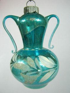 Vintage Blue VASE URN Pearl Annealed German Mercury Glass Christmas Ornament