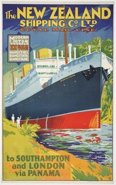New Zealand Shipping Company Ltd :The New Zealand Shipping Co. Ltd Royal Mail Line. Modern motor vessels, 17,000 tons; Rangitiki, Rangitata, Rangitane; to Southampton and London via Panama [ca 1930].
