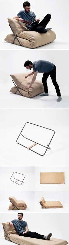 The Cushion Tamer In just a couple of simple steps, SHO transforms from sofa to sofabed in seconds b Smart Furniture, Space Saving Furniture, Furniture Design, Crea Design, Diy Home Decor Rustic, Latex Mattress, Lap Desk, Ideias Diy, Home And Deco