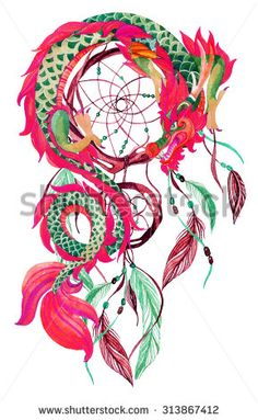 Chinese Dragon and dreamcatcher card. Watercolor ethnic dreamcatcher. Traditional symbol of dragon. Watercolor hand painted illustration. - stock photo