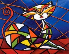 Stained Glass like whimsical cat painting Stained Glass Designs, Stained Glass Projects, Stained Glass Patterns, Stained Glass Art, Mosaic Animals, Glass Animals, Mosaic Art, Mosaic Glass, Animal Original