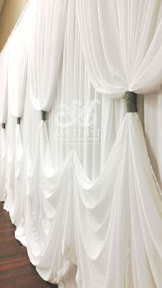 Wedding Backdrop Drapings - wave hem with contrast black bling curtain ties