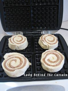 Canned Cinnamon Roll Waffles - oh wow!  I'm going to go buy a waffle iron!