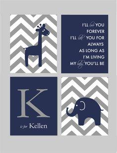 Love You Forever Sign Giraffe Nursery Elephant Nursery Chevron Nursery Navy and Gray Nursery Art by karimachal