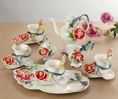 16PCS Ceramic Porcelain Peony Bird Coffee Tea Set Platter Pot Cup Creamer Gifts #Doesnotapply