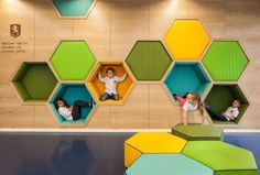 Hexagon childrens cubbies footstool fit into wood wall reading nook play colorful honeycomb