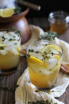 Lemon Thyme Bourbon Cocktails (naturally sweetened)