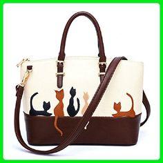 Egmy Fashion Women Girl's Shoulder Bag Handbag Dual-Use Package Cat PU Leather Cross Body Zipper Casual Bags - Shoulder bags (*Amazon Partner-Link)