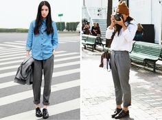 rolled grey tousers, button-down shirts, bare ankles... what I want to live in this fall