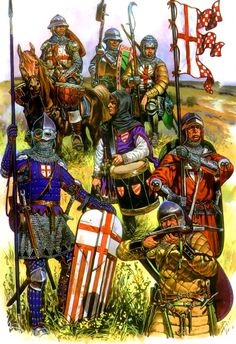 English troops, Hundred Years War Medieval Life, Medieval Knight, Medieval Armor, Medieval Fantasy, Military Art, Military History, Ancient History, Art History, English Knights