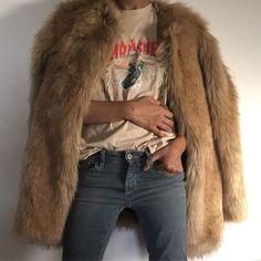 Fur coat, Thrasher tee, vintage tee, boho street style