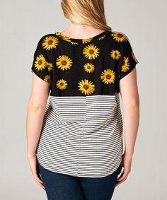Look at this #zulilyfind! Black & Yellow Stripe Daisy Scoop Neck Top - Plus by Tua Plus #zulilyfinds