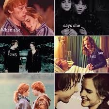 Image result for harry potter ron and hermione love