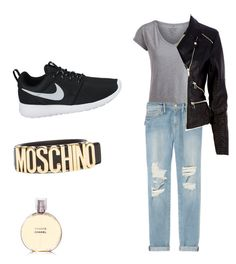? by xilasia on Polyvore featuring polyvore, fashion, style, Pieces, River Island, Frame Denim, NIKE and Moschino