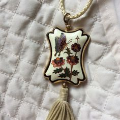 Vintage Butterfly Tassel Necklace  Please feel free to ask any questions! Love this piece. Cloisonne Jewelry Necklaces