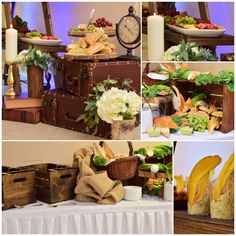 Rustic buffet setup / baby shower food / catering ideas by KettyDelights