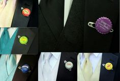 """Up"" themed wedding badges made for bouts' by ABBA Design. Please visit www.abbadesign.net for all your wedding needs."