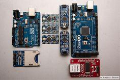Arduino microcontroller / Arduino Uno microcontroller ATmega328 / Arduino Mega 2560 / Arduino Nano ATmega328 / Arduino Pro Mini ver.3.3V ATmega328 / Photo by Arkadiusz Sikorski http://www.arq.pl/