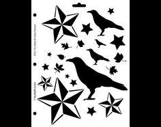 Stars and Crows Forever Stencil-8 1/2 X 11 STCL115  por StudioR12
