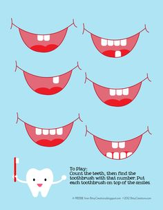 Cute tooth counting game appropriate for preschool and pre-k. Perfect to keep for students to use after they finish other activities or at arrival time. Great for lessons about hygiene and dental health. Free Preschool, Preschool Lessons, Preschool Activities, Space Activities, Dental Games, Dental Kids, Daycare Themes, Daycare Spaces, Dental Health Month