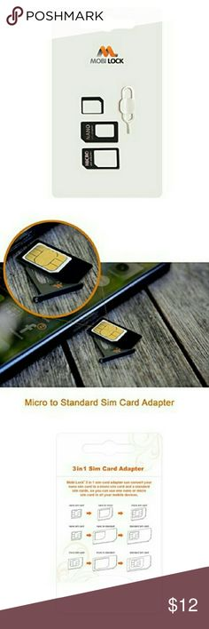 Mobi Lock 3 in 1 Sim Card Adapter Micro Nano & Sim The Mobi Lock 3 in 1 Nano Sim Card Adapter Kit (Nano / Micro / Standard) is a perfect solution for someone switching between devices or phones that require different types of Sim cards. It converts your Nano Sim Card to Micro SIM card or nano to Standard Sim card using the nano to standard sim adapter, and a Micro SIM to standard SIM card using the micro to standard sim adapter. The Simcard adapter is fully reversible, very easy to switch…