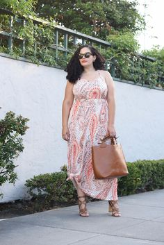 Tanesha Awasthi (formerly Girl with Curves) wearing a paisley print maxi dress from Old Navy.