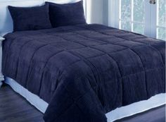 Amazon.com - Newpoint Microplush Corduroy Full/Queen Comforter Mini Set, Navy