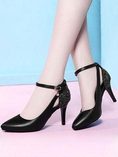 Sequin Contrast Pointed Toe Pumps Heels Pointed Toe Pumps, Peep Toe, Designer Heels, Toe Shoes, Womens High Heels, Black Pumps, Shoe Brands, Comfortable Shoes, Pumps Heels