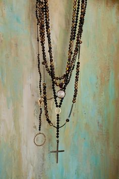 Cheryl Dufault Designs Black and Gold Rosaries #cheryldufaultdesigns #necklace #jewelry #rosary
