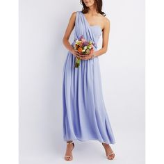 Charlotte Russe Draped One-Shoulder Maxi Dress ($18) ❤ liked on Polyvore featuring dresses, gray violet, ruched maxi skirt, maxi dresses, maxi skirt, gray maxi dress and gray cocktail dress