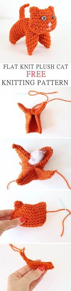 EASY flat knit plush cat. Free knitting pattern.
