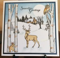 A Snowy Night by Michele G - Cards and Paper Crafts at Splitcoaststampers Winter Christmas, Christmas Cards, Xmas, House Mouse Stamps, Art Impressions, Stamping Up, Moose Art, Paper Crafts, Men's Cards
