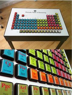 """The Periodic Table of Swearing is a machine with more than 100 brightly coloured buttons which unleash hilariously creative """"bad words"""" when pressed. Created by Jon Link and Mick Bunnage -writers, illustrators and cartoonists- and well known as the creative minds behind Modern Toss. One of their well-received works of art include this Periodic Table now available in the form of an interactive coffee table (yes, a piece of furniture)."""