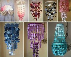 $3 chandelier!!! 3 rings from the Dollar Tree, and free paint swatches. I love the design of the purple one! You can customize the colors too! :D