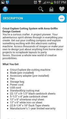 Description of Cricut Explore - page 1