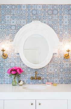 Big love for this bathroom project using our Tapestry Blue tile.