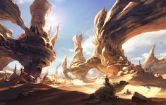I really like this landscape, it's unique even among the other desert pieces.  First off there are a couple of interesting choices made, one being the lizard the man is riding and the second being the use of rounded rock instead of jagged.  The bright blue in the sky plays well off of the yellow tan of the rock formations.  The light looks natural and bright without being overpowering even on a reflective landscape.  I also like the cool shade spots that feel welcoming instead of dangerous.