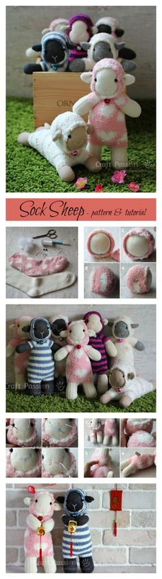 DIY Sock Animals: Free pattern and tutorial on how to sew sock sheep with 2 single socks. Use a microfiber sock to resemble the fluffy fur of the sheep. Sock Crafts, Baby Crafts, Cute Crafts, Crafts For Kids, Sewing Toys, Sewing Crafts, Sewing Projects, Craft Projects, Sewing Patterns Free