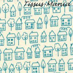 Un joli coupon de tissu de moda avec pour theme  la ville  100 % coton    Serie: summersville    Idéal pour le patchwork,la confection de petits sacs,