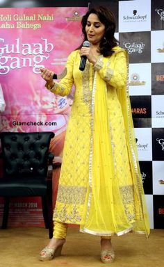 Madhuri Dixit in Yellow Anarkali 2014 at Gulaab Gang Promotions