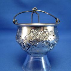 Antique Sterling Fradley Tea Ball Teaball Strainer with Large Bows & Garland NR #Fradley