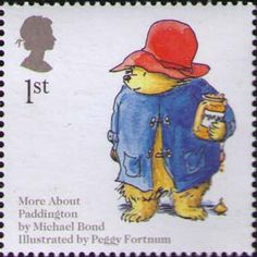 Stamp honouring Paddington Bear by Michael Bond, illustrated by Peggy Fortnum