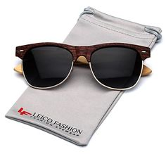 6c6f25219297 Bamboo Wood Polarized Sunglasses Retro Fashion Semi Rimless Style Frame      Learn more by visiting the image link.Note It is affiliate link to Amazon.