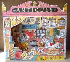 Antiques Shop 3D card by Emily Sutton