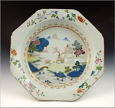 Large Antique Qianlong Period Chinese Export Porcelain Deep Serving Dish