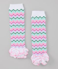 Take a look at this Pink & Green Zigzag Leg Warmers by Diva Daze on #zulily today!