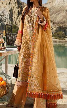 Almond Lawn Suit   Buy Rang Rasiya Pakistani Dresses and Clothing online in USA, UK Pakistani Lawn Suits, Pakistani Dresses, Salwar Suits, Fashion Pants, Fashion Dresses, Rang Rasiya, Yellow Fabric, Color Yellow, Suits Online Shopping