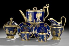 Exquisite Old Paris seven-piece tea service, gilded cobalt-ground set, decorated with classical themes