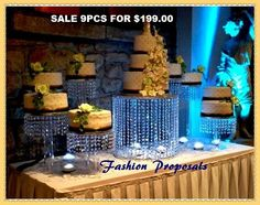 Asian Wedding Acrylic Crystal Cake Stands 8 mini cakes stand and 1 full size cake stand. to create a cascade design you can use the small ones