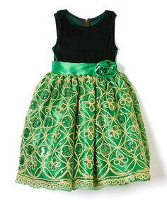 Green Sequin A-Line Dress - Infant, Toddler & Girls